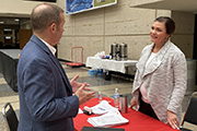 Dani Harrison, U.S. Army Corps of Engineers Nashville District contracting specialist, provides contracting information to Brad Moffett, during the 10th Annual Small Business Industry Day March 5, 2020 at Tennessee State University's Avon Williams Campus in Nashville, Tenn.