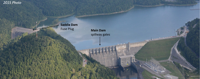 Aerial View of Center Hill Dam and Reservoir