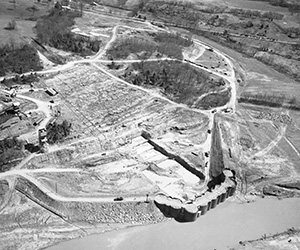 J. Percy Priest Dam Construction Aerial View