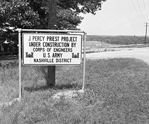 J. Percy Priest Dam Construction Sign