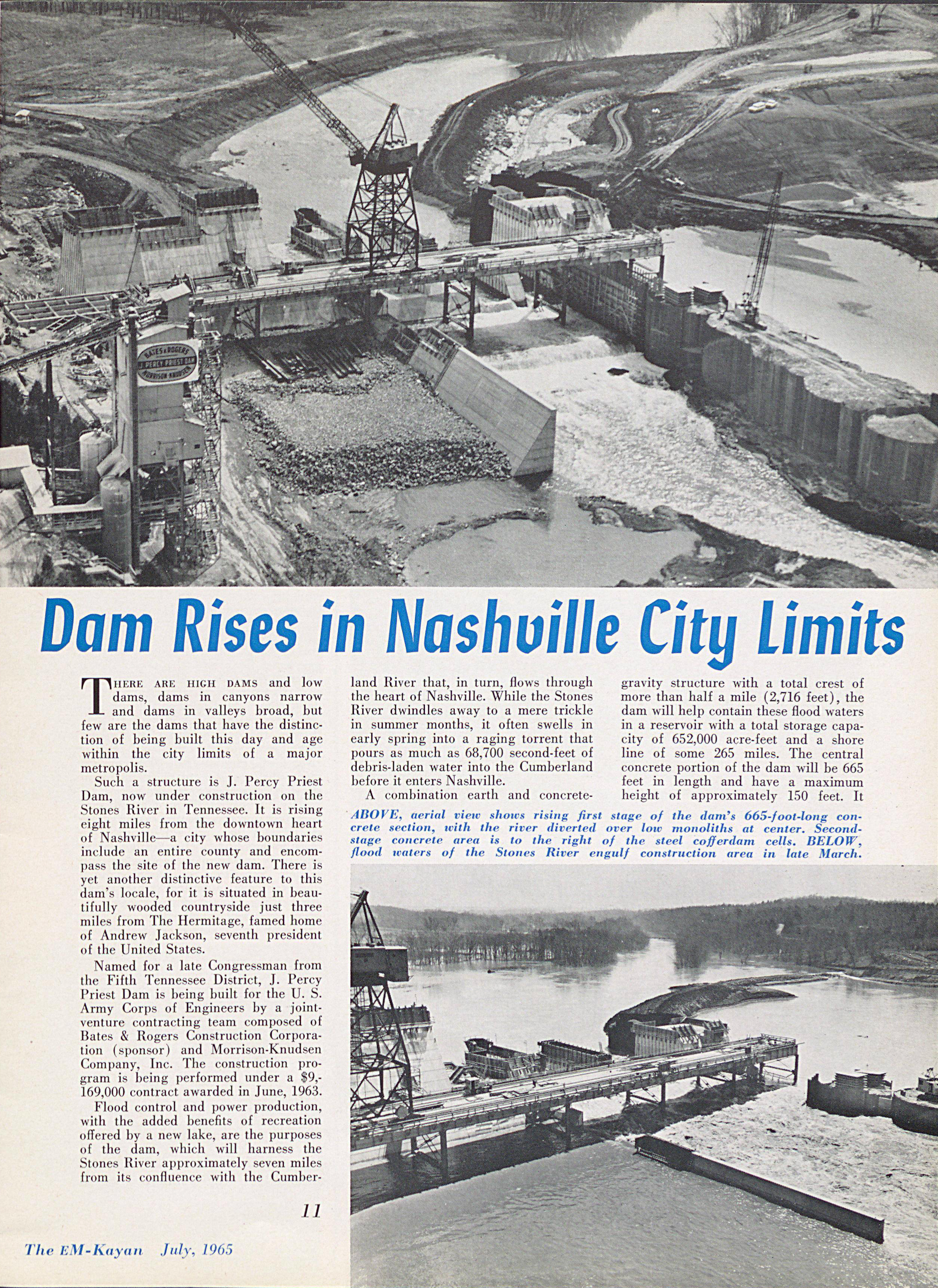 Dam rises in Nashville City Limits Article Page 1