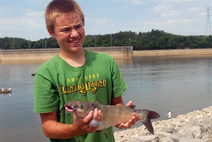 Youth fisherman enjoying a day on the banks of the Lake Barkley's tailwaters