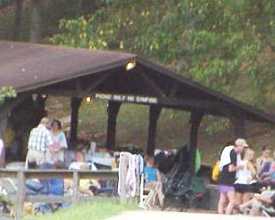 Visitors enjoying a day at one of Center Hill Lake's reservable group shelters