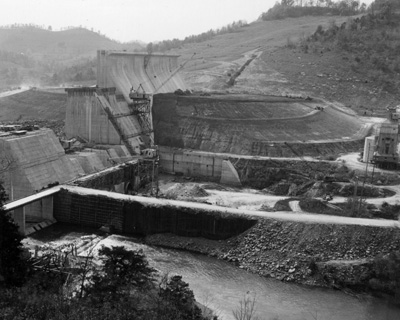 Overview photograph of the construction of Center Hill Dam, Lancaster, Tenn.