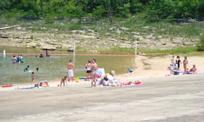 Visitors enjoying a day at one of Center Hill Lake's beaches