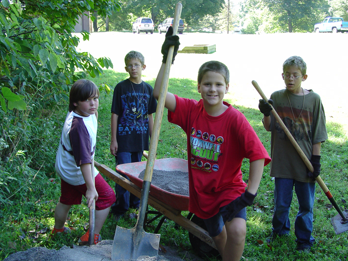 Youth volunteers work on a project at Cheatham Lake