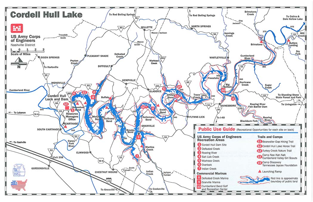 Cordell Hull Lake Public Use Guide Map