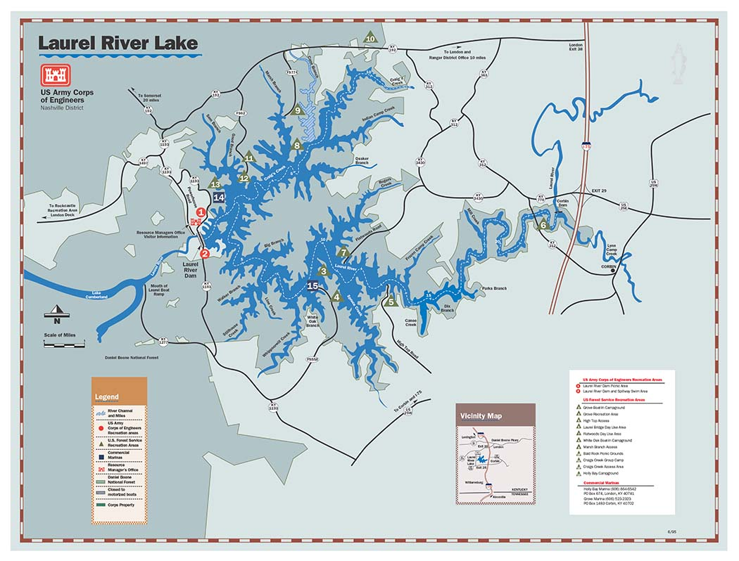 Nashville District Locations Lakes Laurel River Lake Maps - Us map lakes and rivers