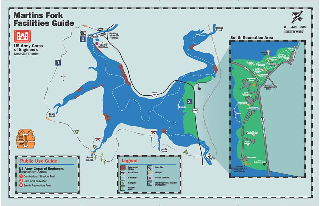 Martins Fork Lake Public Use Guide Map