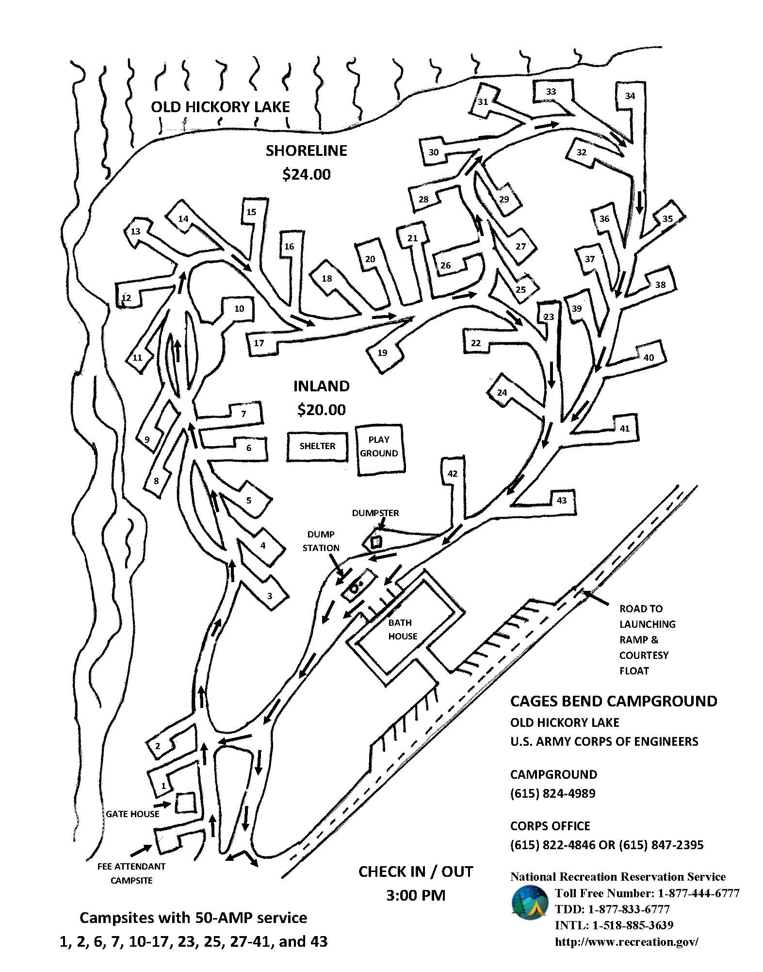 Cages Bend Campground Map