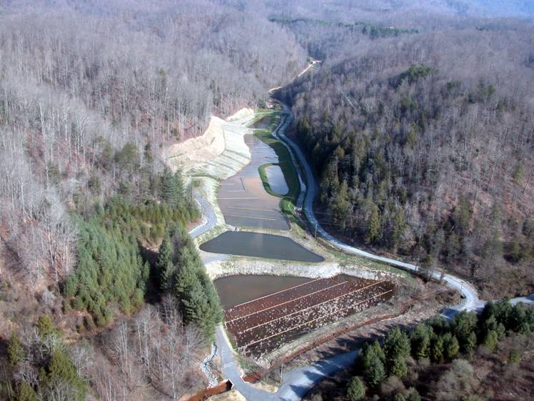 A after picture at Ely and Puckett Creek in southwestern Virginia were the Corps of Engineers restored the ecosystem damaged by acid mine drainage resulting from abandoned coal mines.