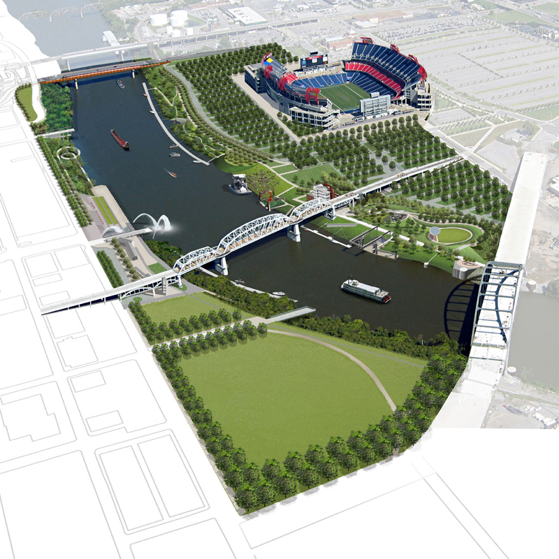 A birds-eye view of Riverfront Park Design Plan located in Nashville, Tennessee (Image courtesy of Nashville Metro Parks)