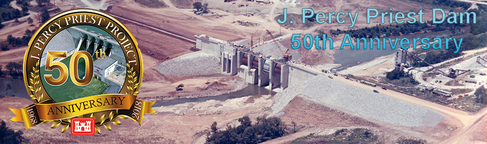 J. Percy Priest Dam 50th Anniversary - Aerial photo of dam under construction with anniversary logo