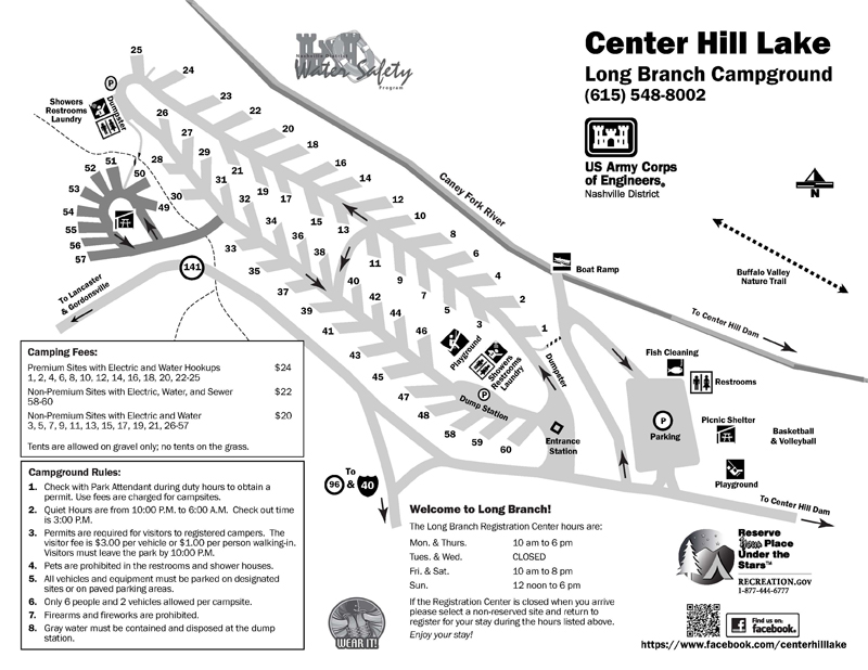 Camping In Tennessee Map.Nashville District Locations Lakes Center Hill Lake