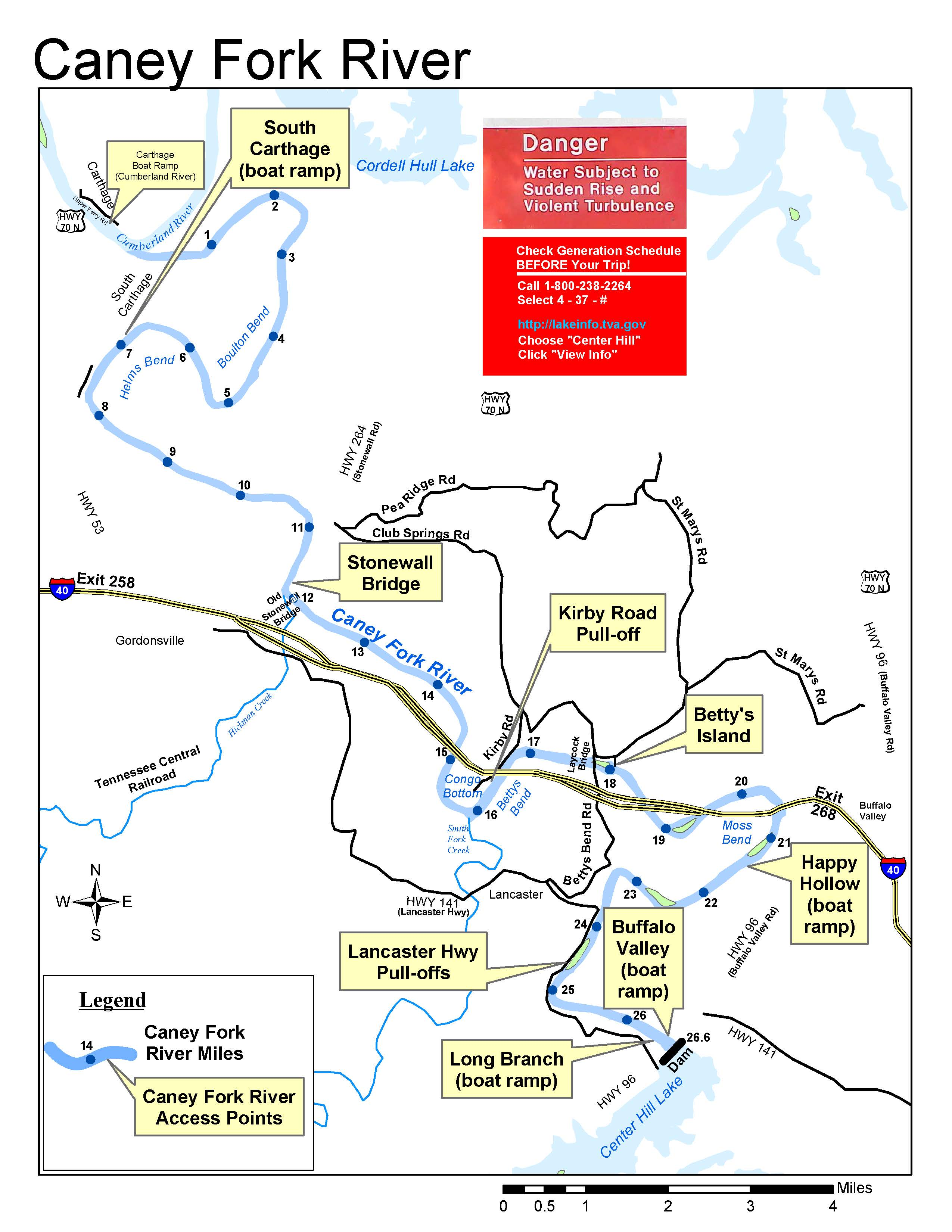 Caney Fork Map at Center Hill Lake