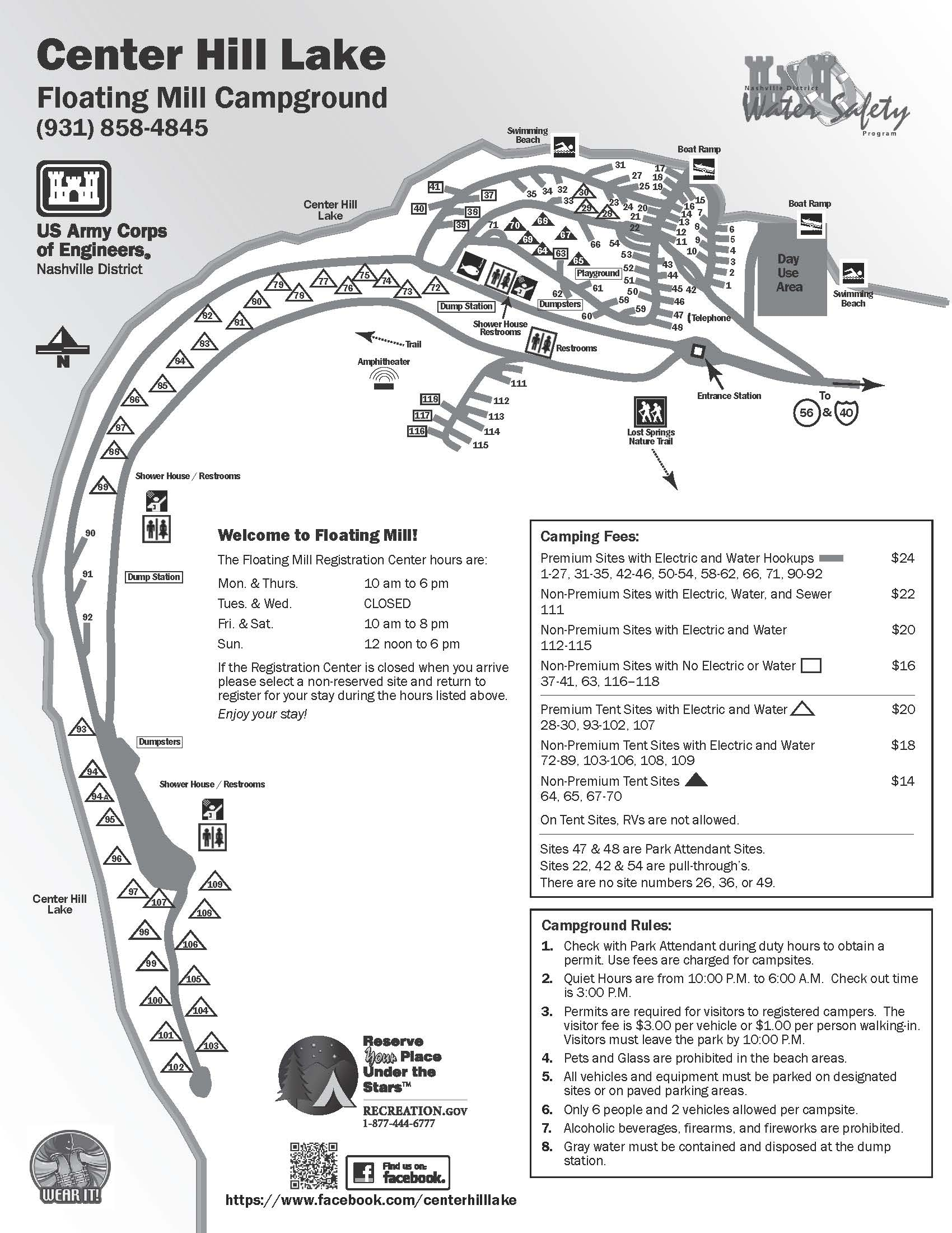 Floating Mill Campground Map at Center Hill Lake