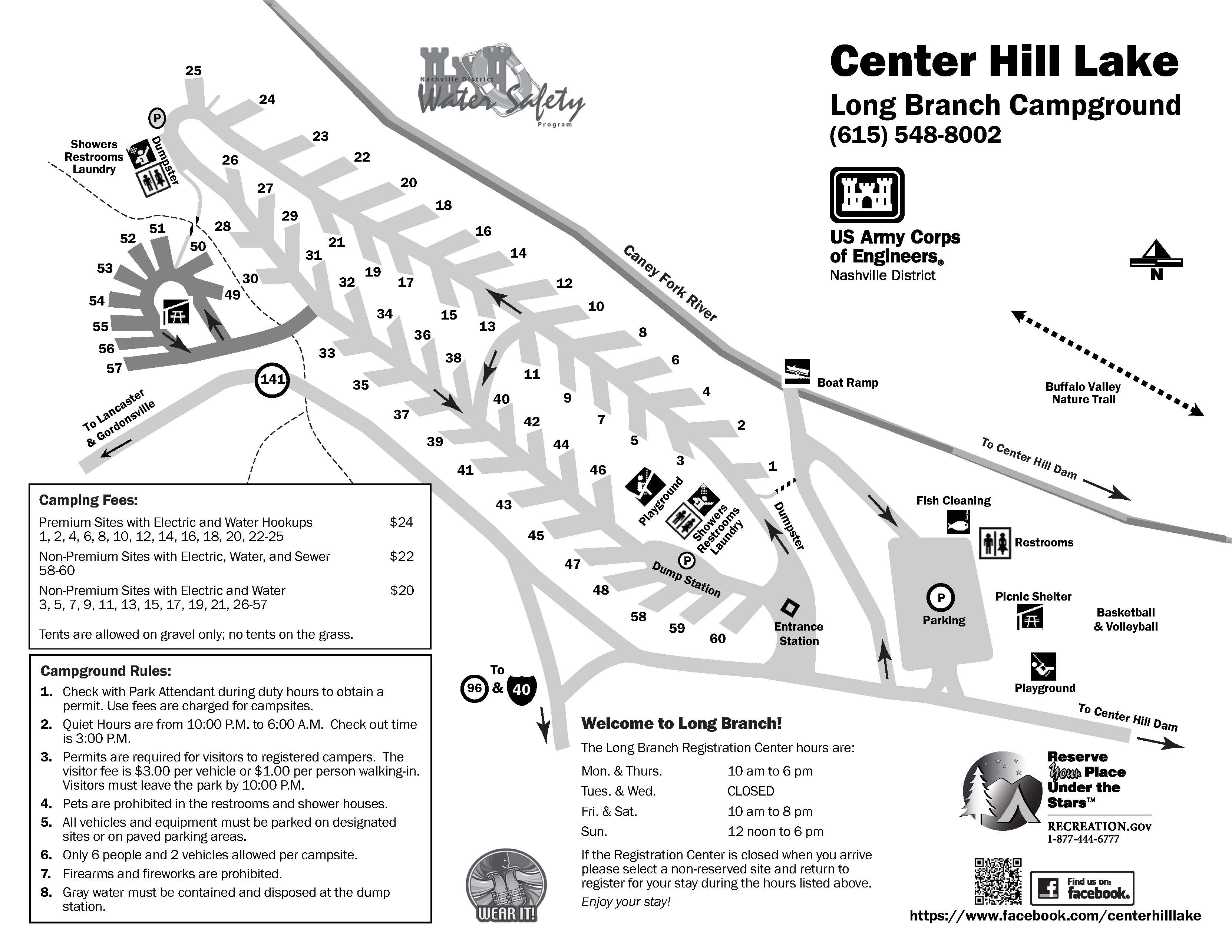 Long Branch Campground map at Center Hill Lake