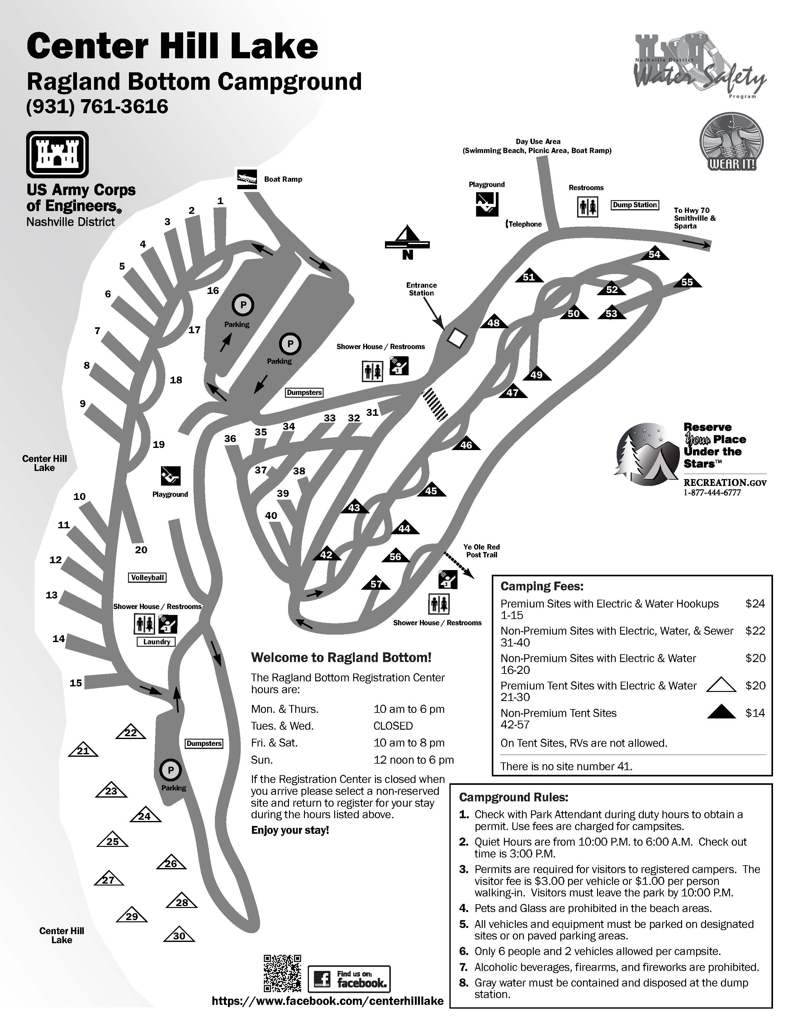 Ragland Bottom Campground Map at Center Hill Lake