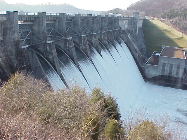 Overlook of Center Hill Dam during spilling