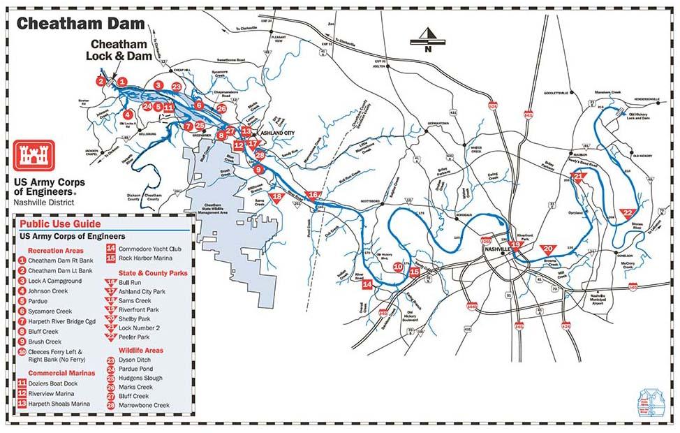 Nashville District Locations Lakes Cheatham Lake Maps - Johnson lake map