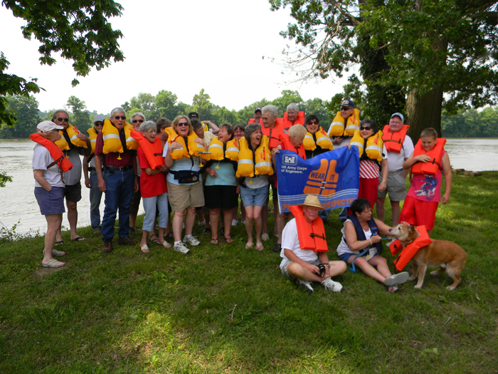 Rangers and visitors wear their life jackets to promote water safety awareness at Cheatham Lake
