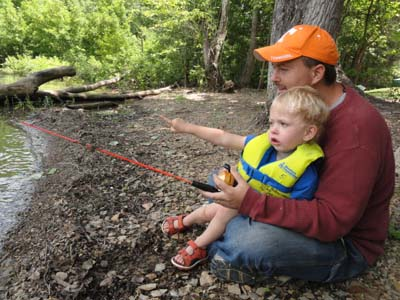 Dad and son fish at Dale Hollow Lake