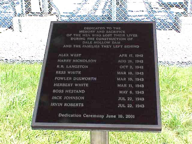 Plaque for nine men killed during construction of Dale Hollow Dam