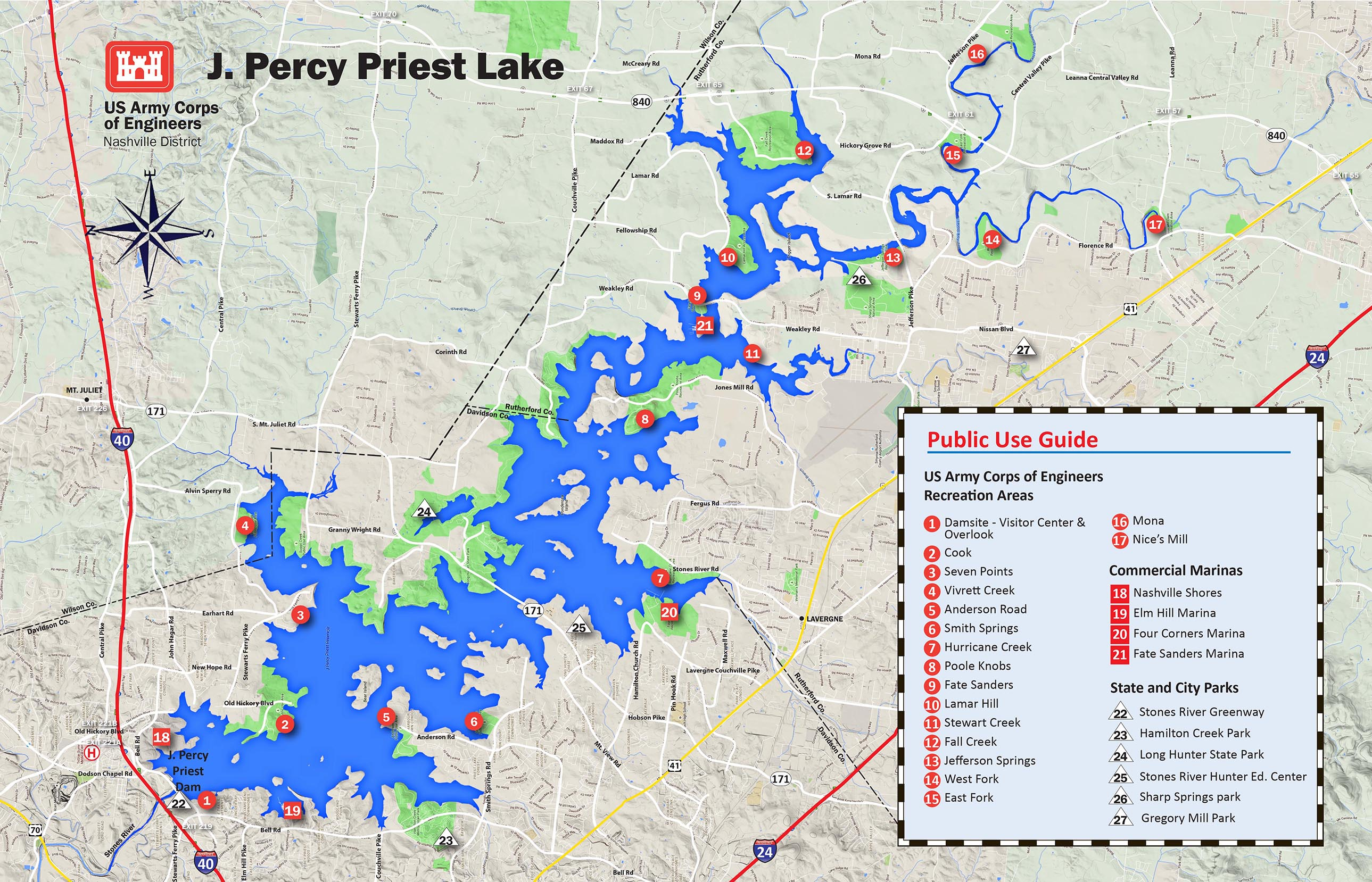 J Percy Priest Lake Map 2015 Version
