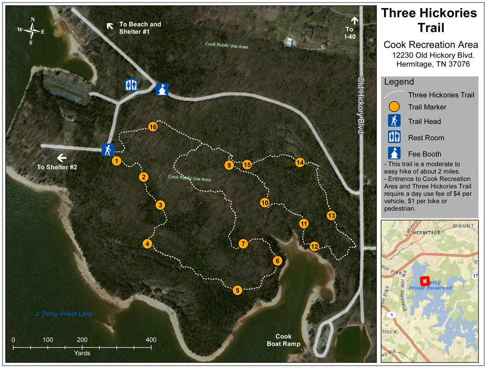 Three Hickories Trail Map