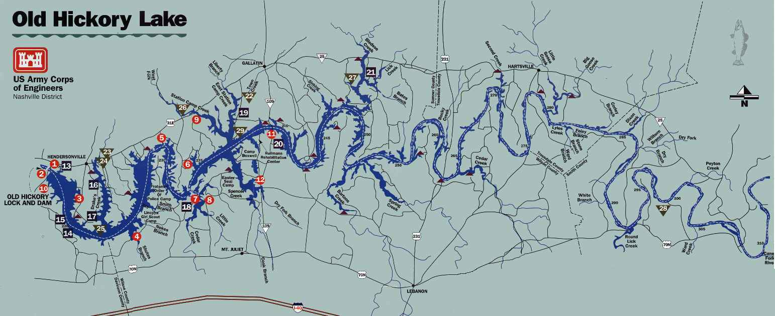 Old Hickory Lake Topographic Map.Nashville District Locations Lakes Old Hickory Lake Maps