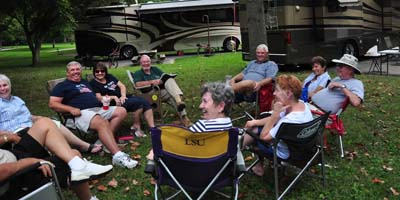 Campers enjoy a summer's day in the shade at Old Hickory Lake's Cedar Creek Campground, Mt. Juliet, Tenn.