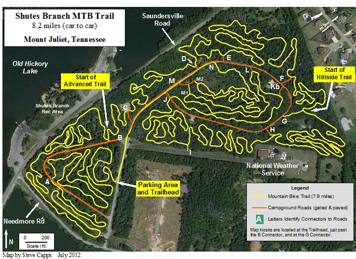 Shutes Branch Mountain Bike Trail Map, Old Hickory Lake, Mt. Juliet, Tenn.