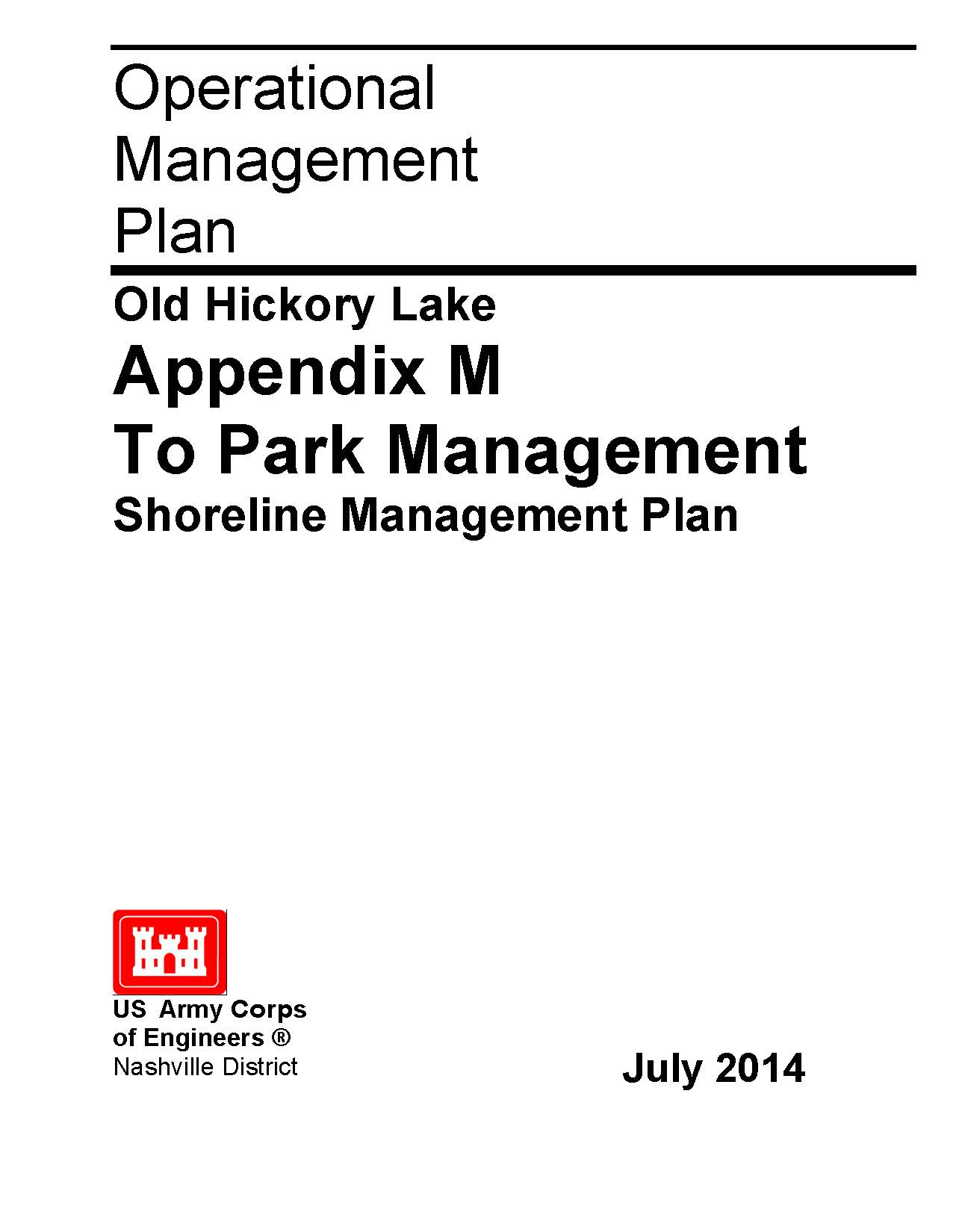 Front page of the 2014 Old Hickory Lake Shoreline Management Plan