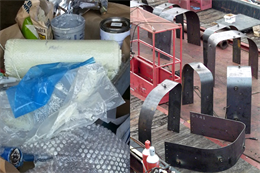 Pictured at left is the experimental composite wrap and primer to be applied underwater to a deteriorated discharge port at the 73-year-old Chickamauga Lock in Chattanooga, Tenn., with the conventional steel wrap displayed at right.