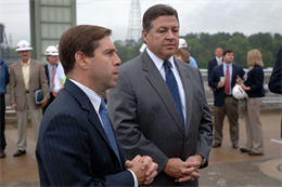 Congressman Chuck Fleischmann (Left), representative of the 3rd District of Tennessee, and Congressman Bill Shuster, representative of the 9th District of Pennsylvania, answer media questions during a tour of Chickamauga Lock in Chattanooga, Tenn., March 23, 2012.